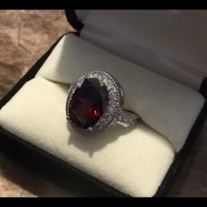 Red Garnet Oval Cut Silver Filled Ring
